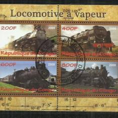 [ 20 ] LOCOMOTIVE -CONGO - BLOC STAMPILAT - Timbre straine