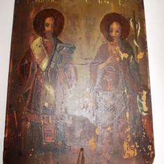 Icoana pictata pe lemn chirilica - secol 18 / Icoana veche pictata - Icoana pe lemn