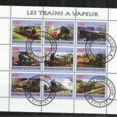 [ 34 ] LOCOMOTIVE - REPUBLIQUE DE COTE D'IVOIRE - BLOC STAMPILAT - Timbre straine