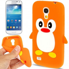 Husa silicon Samsung Galaxy S4 mini ORANGE PINGUIN + folie protectie - Husa Telefon Samsung, Portocaliu, Carcasa