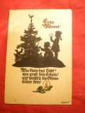 Ilustrata- Felicitare Anul Nou -pe Negativ , semnata, 1943