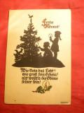 Ilustrata- Felicitare Anul Nou -pe Negativ , semnata, 1943, Circulata, Printata