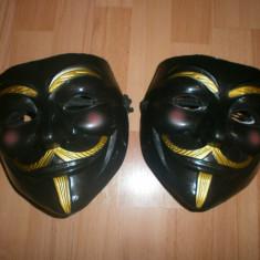 Masca Anonymous, Guy Fawkes, Masca V for Vendetta Negru, Rezistenta - Masca carnaval, Marime: Masura unica, Marime universala, Culoare: Din imagine