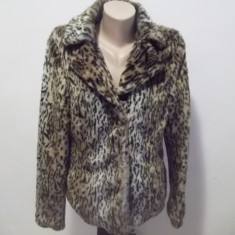 Jacheta din blana eco animalprint - Jacheta dama, Marime: 40, Culoare: Multicolor