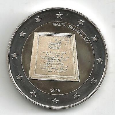 moneda 2 euro comemorativa MALTA 2015-Republica, UNC foto