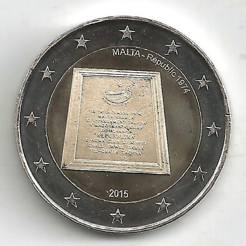moneda 2 euro comemorativa MALTA 2015-Republica, UNC