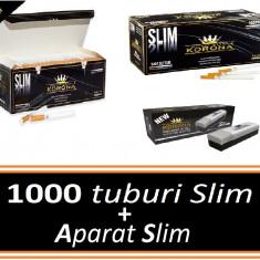 Pachet KORONA SLIM + APARAT SLIM - 1000 tuburi pentru tigari, filtre tigari - Foite tigari