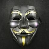 Masca Anonymous, Guy Fawkes, Masca V for Vendetta Negru, Rezistenta nou, Marime universala, Din imagine