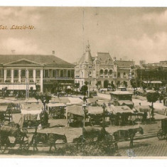 2966 - ORADEA, Market - double old postcard - unused - Carte Postala Crisana 1904-1918, Necirculata, Printata