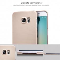 Husa Samsung Galaxy S6 Edge Plus Cauciucata Super Frosted by Nillkin Gold, Auriu, Plastic