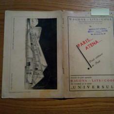 PARIS... ATENA... * Doua Calatorii de Pasti - WAGONS-LITS//COOK - 1937 - Pliant Meniu Reclama tiparita