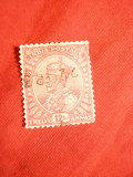 Timbru 12 anna stamp.George V ,carmin India colonie engleza 1911, Stampilat