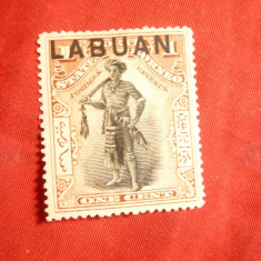 Timbru 1 C lila 1897 Borneo Nord supratipar Labuan, nestampilat, fara guma