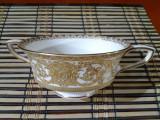 Delicat bol pentru supa gold overlay cu farfurie, anul 1940