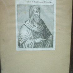 Atanase episcopul Alexandriei gravura secolele XVII - XVIII - Tablou autor neidentificat, Portrete, Fresca, Realism