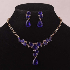 Set de bijuterii placat Aur 14k, Royal Blue Sapphire :cod B743 - Set Swarovski