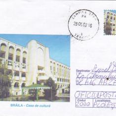 Bnk fil Intreg postal 2002 - Braila - Casa de cultura - circulat