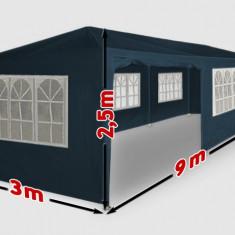 Cort pentru evenimente, cort de gradina, cort petreceri 3x9 m, 9x3 m, albastru