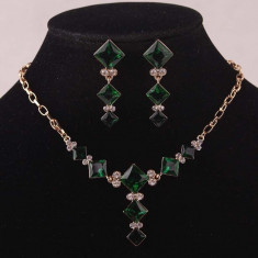 Set de bijuterii placat Aur 14k, Green Crystal cod 724 - Set Swarovski