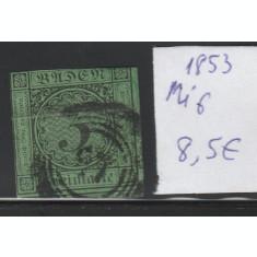Baden - timbru stampilat nedantelat 1853, Mi nr 6