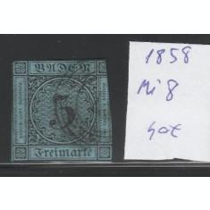 Baden - timbru stampilat nedantelat 1858, Mi nr 8