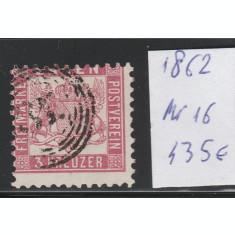 Baden - timbru stampilat dantelat 1862, Mi nr 16