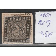 Baden - timbru stampilat dantelat 1860, Mi nr 9 - pe fragment