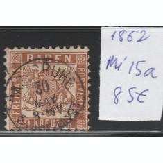 Baden - timbru stampilat dantelat 1862, Mi nr 15a