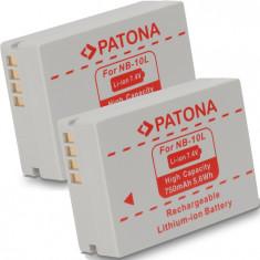 A PATONA | 2 Acumulatori compatibili Canon NB 10L NB10L Powershot G15 G1X - Incarcator Aparat Foto