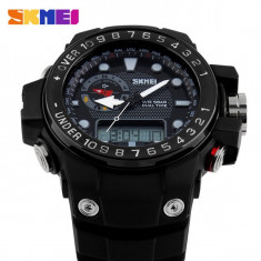 Ceas Casual Sport Subacvatic SKMEI S-Shock Round Dual Time Japan MVT ALARMA etc - Ceas barbatesc, Quartz, Carbon, Cauciuc, Rezistent la apa