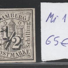 Hamburg - state germane - Mi, nr.: 1 - stampilat