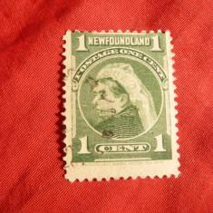 Timbru 1C verde 1897 R.Victoria- Terra Nova (Newfoundland)Colonie Engl., stamp., Stampilat