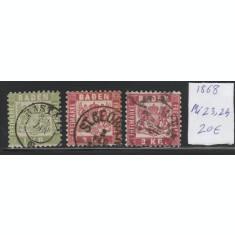 Baden - timbru stampilat dantelat 1868, Mi nr 23,24