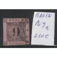 Baden - timbru stampilat nedantelat 1851, Mi nr 4a