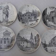 Impresionant set de 6 farfurii decorative din portelan suedez GUSTAVSBERG