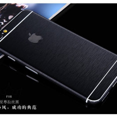 IPhone 6/6S - Folie Stiker Full Body Aspect Metalic Fata/Spate/Lateral Negru - Folie de protectie Apple, Colorata