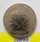Moneda 1 Franc - FRANTA, anul 1991  *cod 1714 B --- CALITATE A.UNC