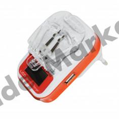 Incarcator universal pentru baterii de telefon cu USB 5V si 220V, De priza