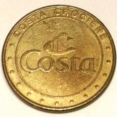 G5. JETON CAZINO VAS CROAZIERA COSTA CROCIERE GAMING TOKEN, BRONZ, 25 mm ** - Jetoane numismatica, An: 1990