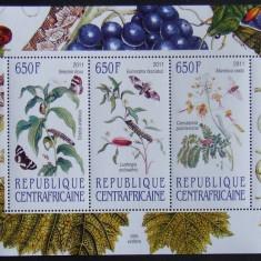 R. CENTRAFRICANA 2011 - FLUTURI, PLANTE, 3 VALORI IN M/SH NEOBLITERATA - E3754
