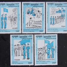CAMBOGIA 1992 -CERCETASI, 5 VALORI NEOBLITERATE - E3767
