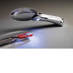 Leuchtlupe Chopart 2.5x mărire, cu mâner de metal cromat și LED-uri