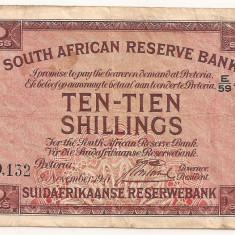 AFRICA DE SUD RESERVE BANK 10 Shillings 1941 F - bancnota africa