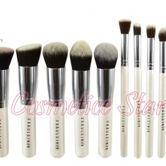 Set 10 pensule machiaj Fraulein38 Kabuki Sea Pearl albe par natural - Pensula machiaj