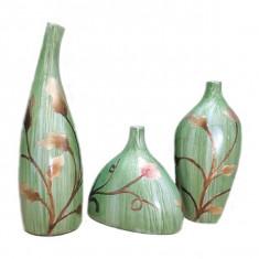 SET 3 VAZE CERAMICE MODEL FLORAL - Vaza si suport flori