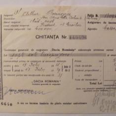 CY - Chitanta Societate Generala de Asigurari Dacia Romania 1938, Romania 1900 - 1950