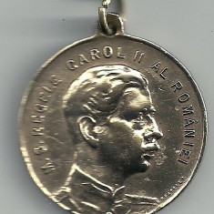 MEDALIE ROMANIA MS REGELE CAROL II ARPA 1927 1933 6 ANI MUNCA PTR FLOTA AERIANA - Medalii Romania
