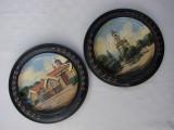 Impresionante picturi in ulei realizate pe doua farfurii decorative din lemn