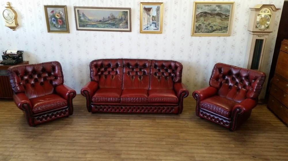 Reducere 20 Salon Chesterfield Canapea Cu 2 Fotolii 100 Piele Naturala Stoc Epuizat Okazii