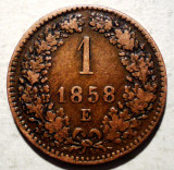 F.293 AUSTRIA TRANSILVANIA 1 KREUZER 1858 E ALBA IULIA, Europa, Cupru (arama)